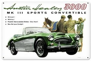 Austin Healey 3000 MK III Sports Convertible   metal sign 450mm x 295mm (pst)
